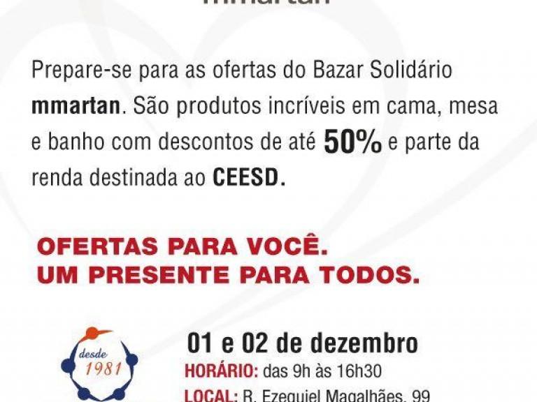 Bazar solidário MMartan!CESD - Centro Síndrome de Down